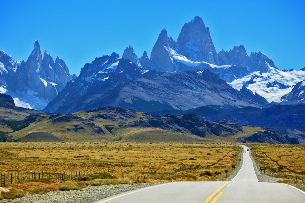 Patagonia with backdrop of Andes Mountains. Camp and hiking adventure trip South America.
